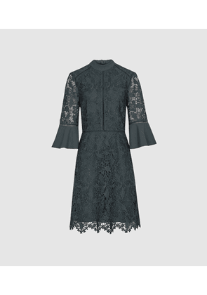 Reiss Agatha - Flute Sleeve Lace Dress in Teal, Womens, Size 4