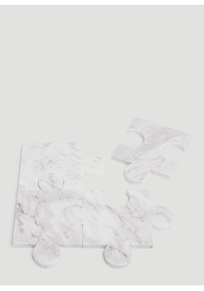 Tre Product Marble Puzzle Coasters in White size One Size