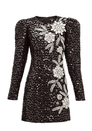 Andrew Gn - Embellished Puff-sleeve Tweed Mini Dress - Womens - Black Silver