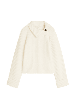 High-Neck Wool-Blend Jumper - White