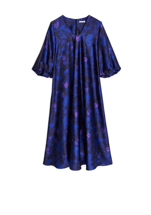 Satin Balloon-Sleeve Dress - Purple