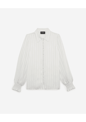 The Kooples - Floaty long white shirt with stripes - WOMEN