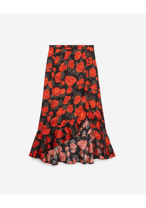The Kooples - Long frilly skirt with floral print - WOMEN