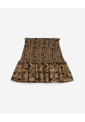 The Kooples - Printed mini skirt with smocking and frills - WOMEN