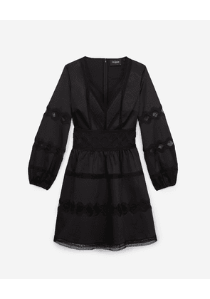 The Kooples - Short black dress with lace detailing - WOMEN