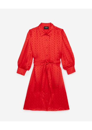 The Kooples - Formal red dress with jacquard print - WOMEN