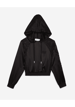 The Kooples - Hooded black top with lace finish - WOMEN