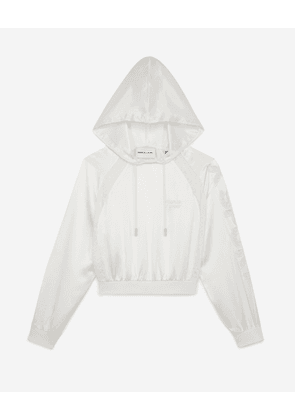 The Kooples - Hooded white crop top with lace strip - WOMEN