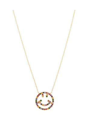 Gold Multi-Stone Smiley Face Pendant Necklace