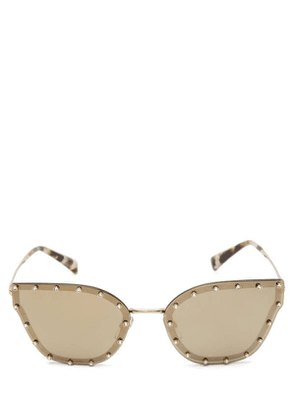 Crystal Studded Butterfly-Frame Metal Sunglasses