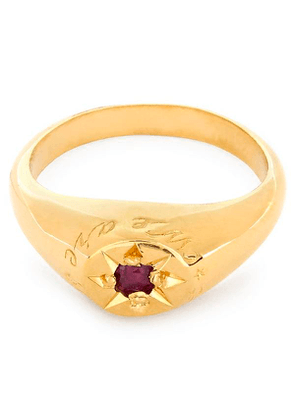 Gold-Plated Ruby Birthstone Ring