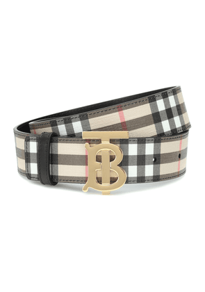 TB Check leather-trimmed belt