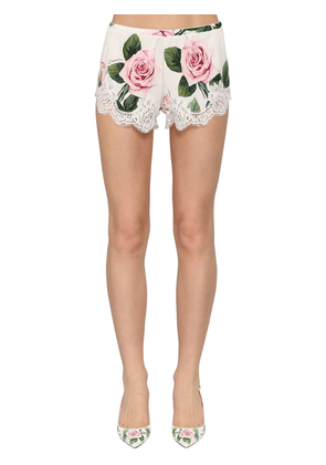 Printed Silk Charmeuse Shorts W/lace