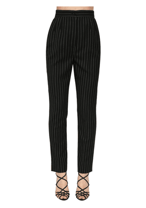 Pin Striped Straight Wool Leg Pants