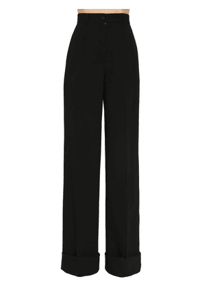 Stretch Gabardine Wool Wide Leg Pants