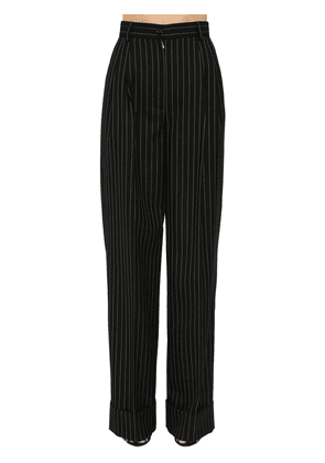 Pin Striped Wool Wide Leg Pants