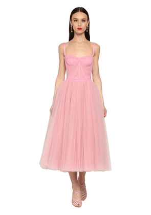 Bustier Stretch Tulle Midi Dress
