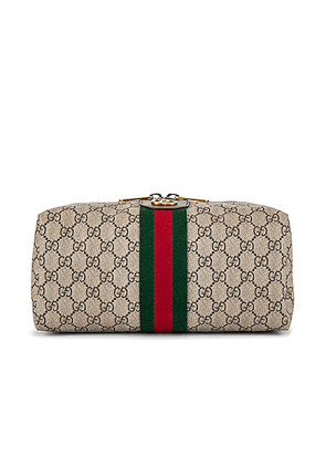 Gucci Pouch in Beige Ebony & Green 7 Red - Neutral,Stripes. Size all.