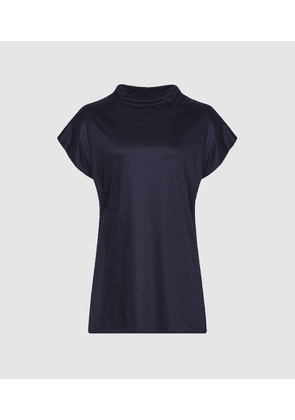 Reiss Pax - High Neck Top in Navy, Womens, Size S