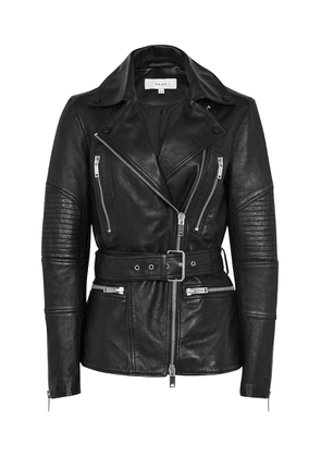 Reiss Dulcie - Belted Leather Jacket in Black, Womens, Size 4