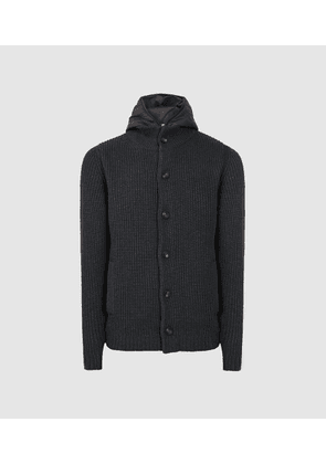 Reiss Carlos - Ribbed Cardigan With Hoodie Insert in Charcoal, Mens, Size XS