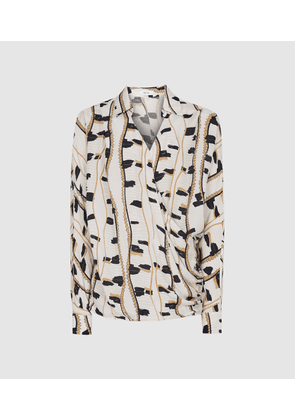 Reiss March - Printed Wrap Front Blouse in Neutral, Womens, Size 4
