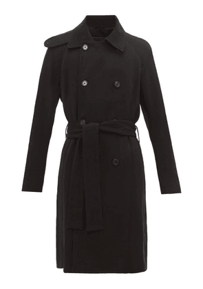 Ann Demeulemeester - Double Breasted Wool Blend Trench Coat - Mens - Black