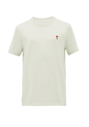 Ami - Logo Embroidered Cotton Jersey T Shirt - Mens - Light Green