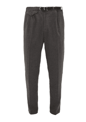 White Sand - Belted Brushed Technical Twill Trousers - Mens - Grey
