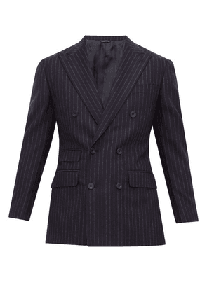 Thom Sweeney - Chalk Stripe Double Breasted Wool Suit - Mens - Navy