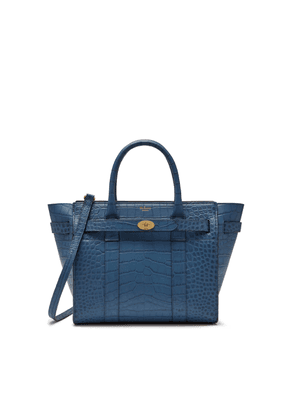 Mulberry Small Zipped Bayswater in Pale Navy Matte Croc