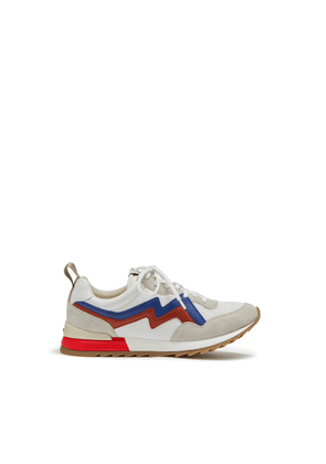 Mulberry MY-1 Flash Lace-up Sneaker in White, Blue and Red Mesh and Soft Lamb Nappa