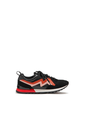 Mulberry MY-1 Flash Lace-up Sneaker in Black, Red and Pink Mesh and Soft Lamb Nappa