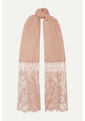 Valentino - Lace-trimmed Modal And Cashmere-blend Scarf - Blush