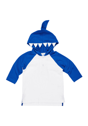Boy's Knit Hooded Coverup with Shark Teeth, Size 6-24 Months
