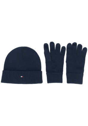 Tommy Hilfiger beanie and gloves set - Blue