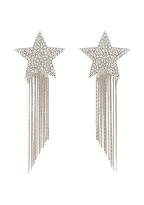 Saint Laurent silver metallic shooting star tassel drop earrings