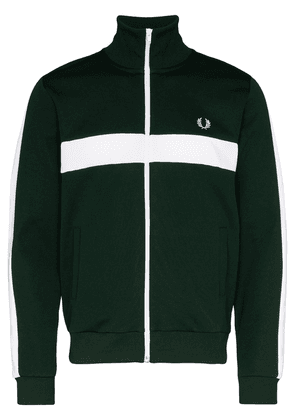 Fred Perry striped logo embroidered track jacket - Green