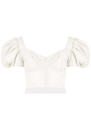 Andrea Bogosian Pantoja leather cropped top - White