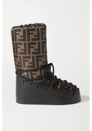 Fendi - Printed Shell And Leather Snow Boots - Brown