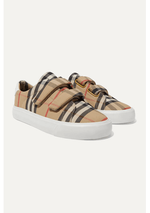 Burberry Kids - Ages 4 - 11 Leather-trimmed Checked Canvas Sneakers