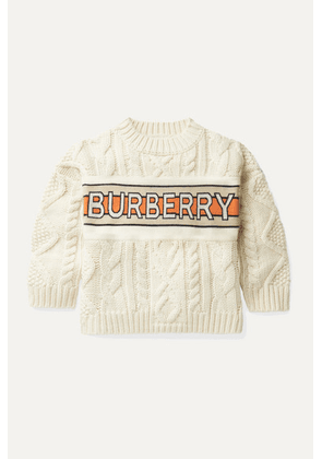 Burberry Kids - Ages 3 - 12 Jacquard-trimmed Cable-knit Wool And Cashmere-blend Sweater