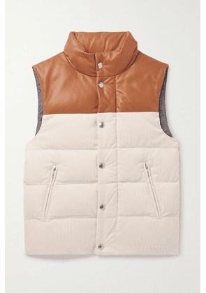 Brunello Cucinelli Kids - Ages 8 - 10 Leather-trimmed Quilted Cotton-corduroy Down Vest