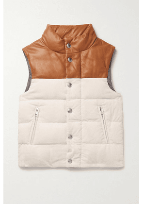 Brunello Cucinelli Kids - Ages 4-6 Leather-trimmed Quilted Cotton-corduroy Down Vest - White