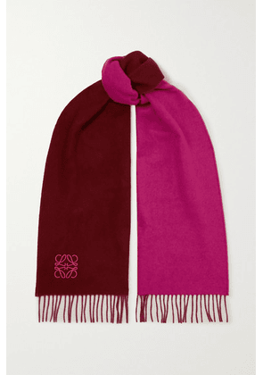 Loewe - Anagram Embroidered Fringed Two-tone Wool And Cashmere-blend Scarf - Burgundy