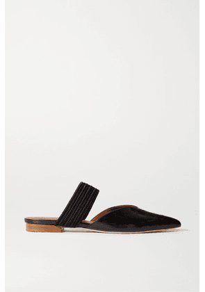 Malone Souliers - Maisie Cord-trimmed Croc-effect Leather Mules - Black
