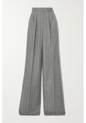 Max Mara - Congo Pleated Pinstriped Wool-blend Wide-leg Pants - Gray