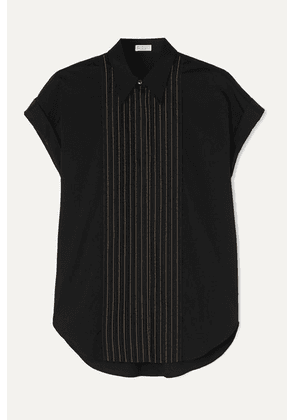 Brunello Cucinelli - Bead-embellished Cotton-blend Poplin Shirt - Black
