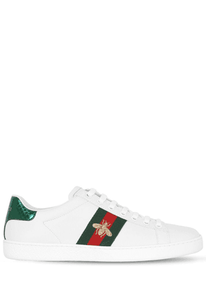 New Ace Embroidered Bee Leather Sneakers