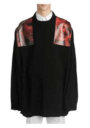 Over Sweater W/ Printed Shoulder Patches
